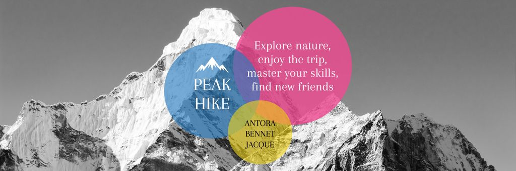 Hike Trip Announcement Scenic Mountains Peaks —デザインを作成する