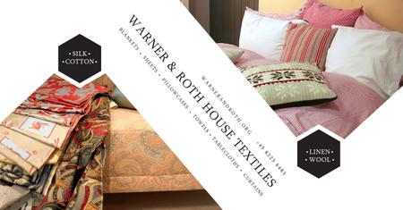 Ontwerpsjabloon van Facebook AD van House Textiles Offer with colorful pillows