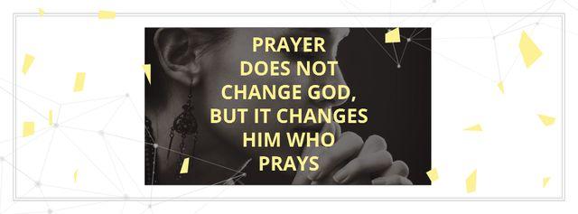 Religion citation about prayer Facebook cover Modelo de Design