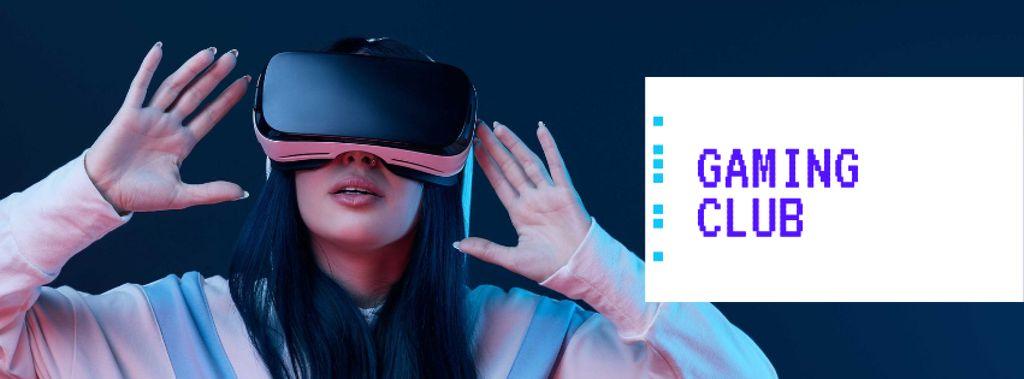 Woman using vr glasses — Crea un design