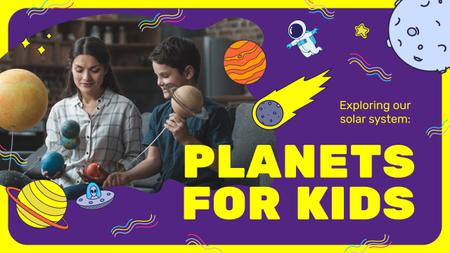 Plantilla de diseño de Kids Education Boy Studying Planets Youtube Thumbnail