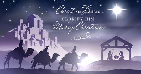 Ontwerpsjabloon van Facebook AD van Happy Christmas Greeting on purple