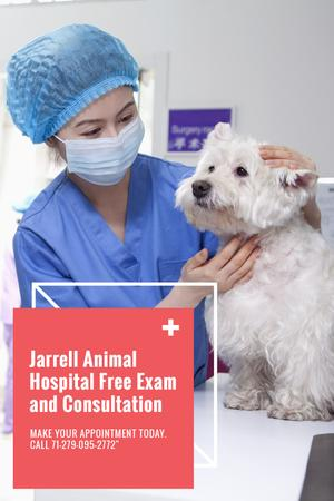 Template di design Vet Clinic Ad Doctor Holding Dog Tumblr