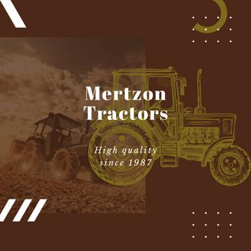 Farming Machinery Tractor Working in Field | Instagram Ad Template