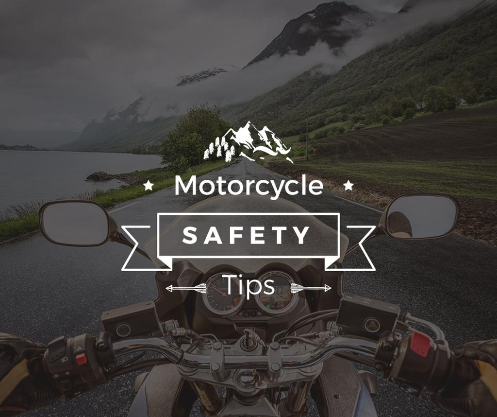 Motorcycle safety tips with Bike on road — Modelo de projeto