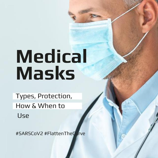Ontwerpsjabloon van Instagram van #FlattenTheCurve Information Ad about Medical Masks