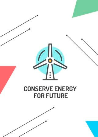 Szablon projektu Conserve Energy Wind Turbine Icon Invitation
