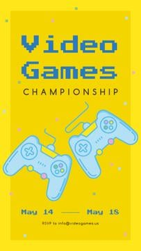 Video console gamepads on Yellow background
