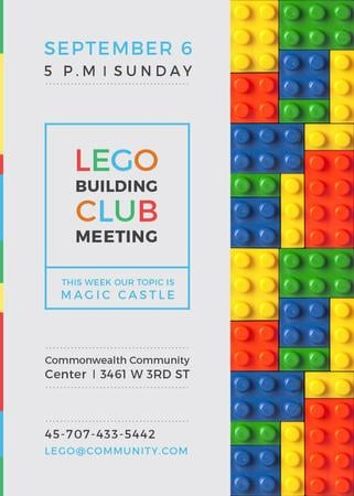 Plantilla de diseño de Lego Building Club meeting Constructor Bricks Flayer