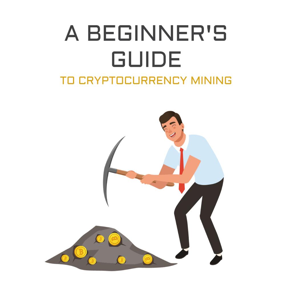 Man mining cryptocurrency — Создать дизайн