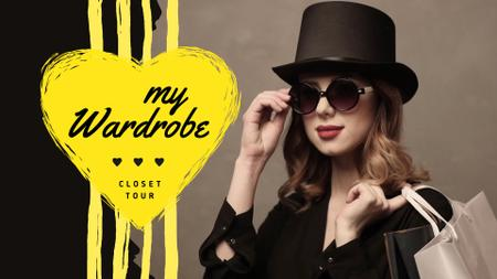Fashion Blog Ad Woman in Sunglasses and Hat Full HD video Modelo de Design
