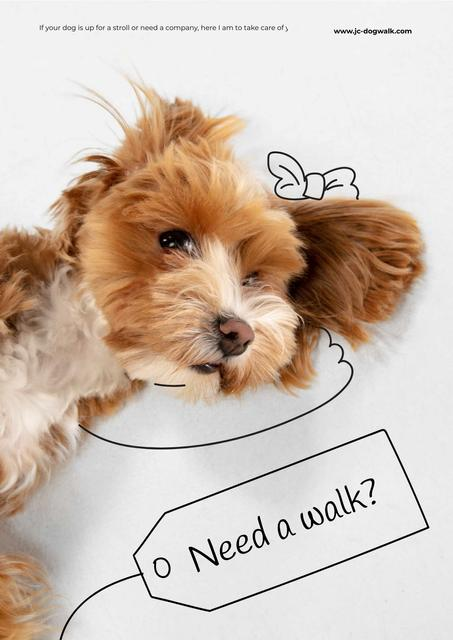 Cute Pup for Dog Walking services Poster Design Template