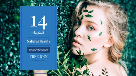 Beauty Workshop with Woman in green leaves FB event cover Modelo de Design