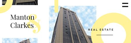 Real Estate Ad with Modern Skyscraper Building Email header Modelo de Design