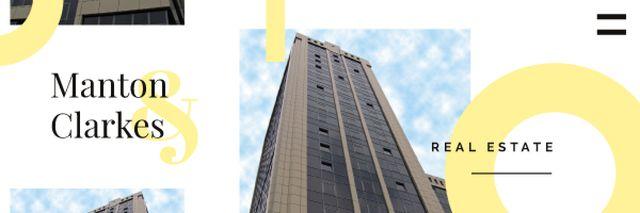 Real Estate Ad with Modern Skyscraper Building Email header Tasarım Şablonu
