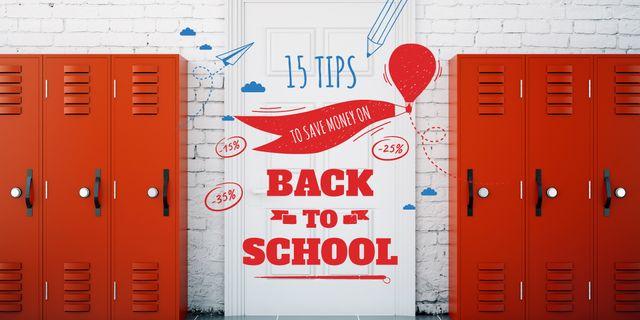 Red lockers in school Image – шаблон для дизайну