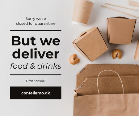 Plantilla de diseño de Delivery Services offer with Noodles in box on Quarantine Facebook