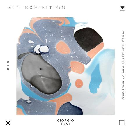 Art exhibition Ad with Texture blots Instagramデザインテンプレート