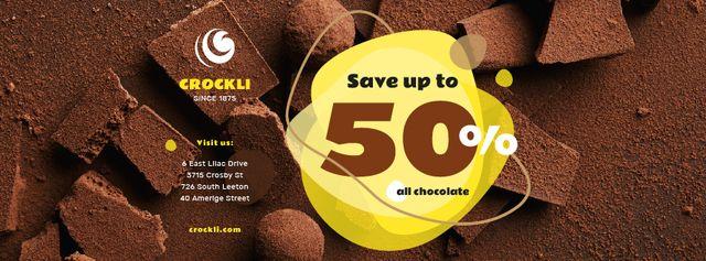 Designvorlage Sale Offer Sweet Chocolate Pieces für Facebook cover
