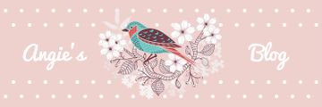 Blog Illustration Cute Bird on Pink | Twitter Header Template