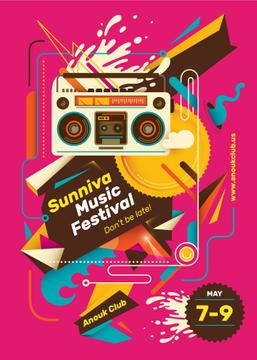 Music Festival Invitation Boombox in Pink | Flyer Template