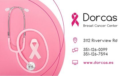 Plantilla de diseño de Breast Cancer Center with Pink Ribbon Business card