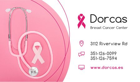 Ontwerpsjabloon van Business card van Breast Cancer Center with Pink Ribbon