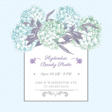 Hydrangea beauty studio advertisement