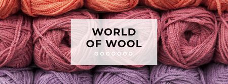 Plantilla de diseño de Knitting Wool Yarn Skeins Facebook cover