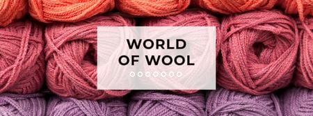 Knitting Wool Yarn Skeins Facebook coverデザインテンプレート