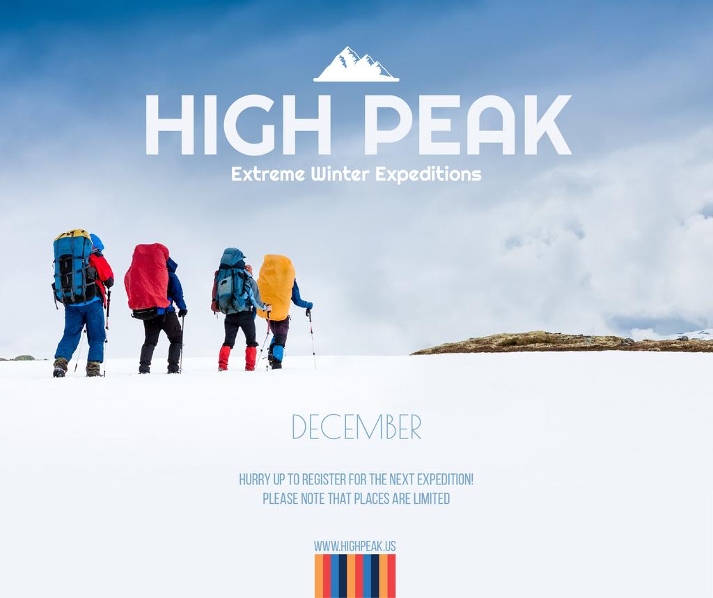 Ontwerpsjabloon van Facebook van Winter Tour offer Hikers in Snowy Mountains