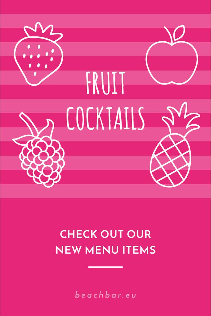 Fruit Cocktails Offer in Pink | Pinterest Template — Створити дизайн