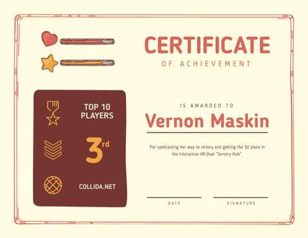 Template di design VR game Duel Achievement confirmation Certificate