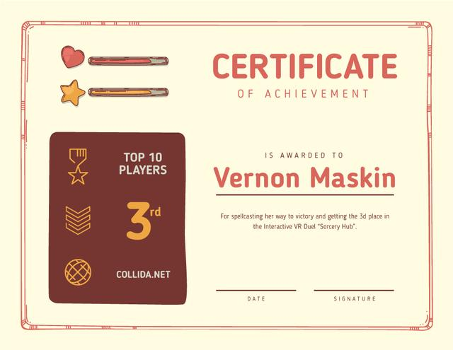 VR game Duel Achievement confirmation Certificate Modelo de Design