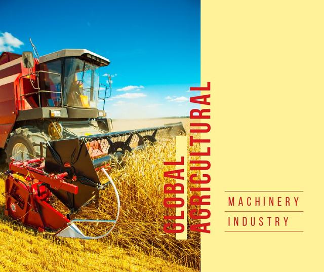 Agricultural Harvester working in Field Facebook Modelo de Design