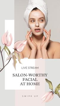 Live Stream Ad with Woman in Cosmetic Mask