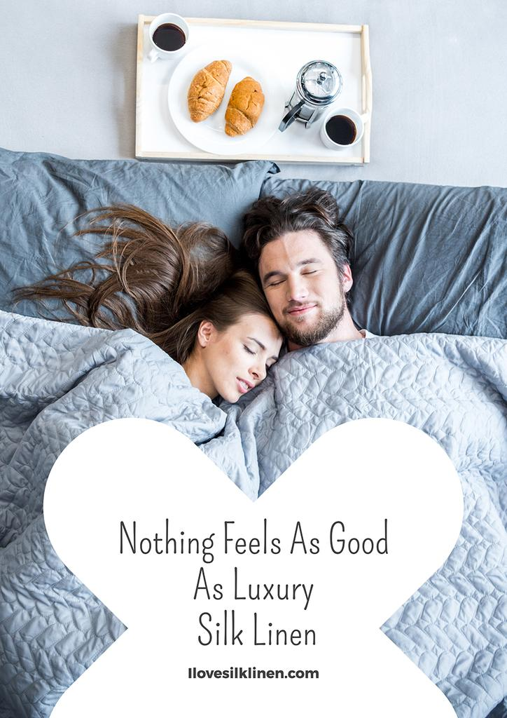 Luxury silk linen website with Couple in bed — ein Design erstellen