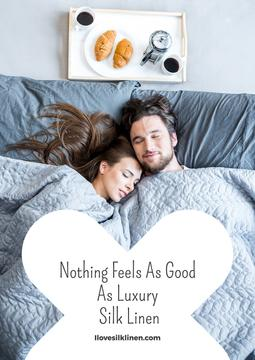 Luxury silk linen website with Couple in bed