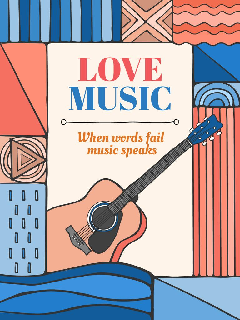 love music card with guitar poster us template design online crello