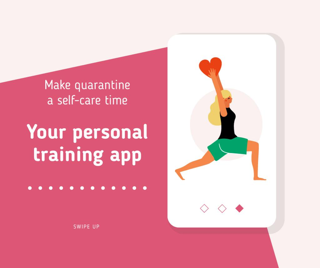 Quarantine Self-Care concept with Woman exercising — Crear un diseño