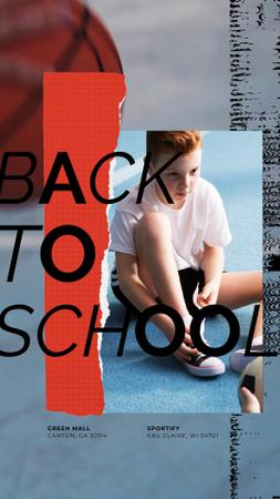 Back to School Offer Kid Tying Gumshoes Instagram Video Story Modelo de Design