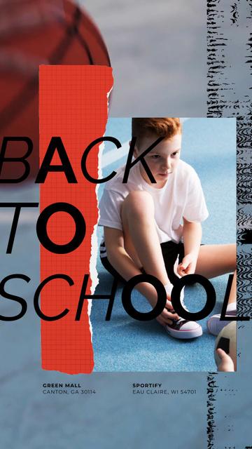 Ontwerpsjabloon van Instagram Video Story van Back to School Offer Kid Tying Gumshoes