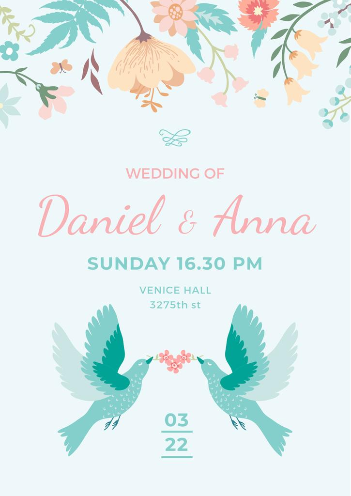 Wedding Invitation with Loving Birds and Flowers — Создать дизайн