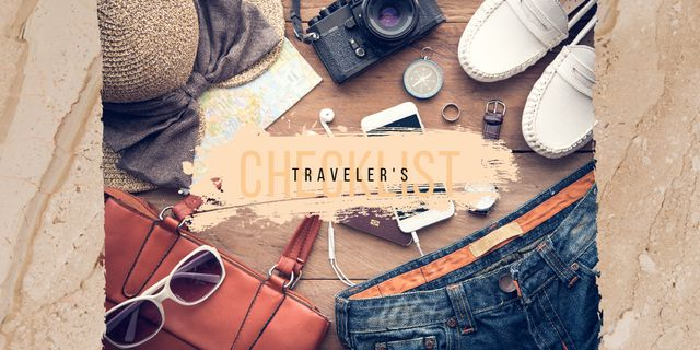 Clothes and travel kit Twitter Design Template
