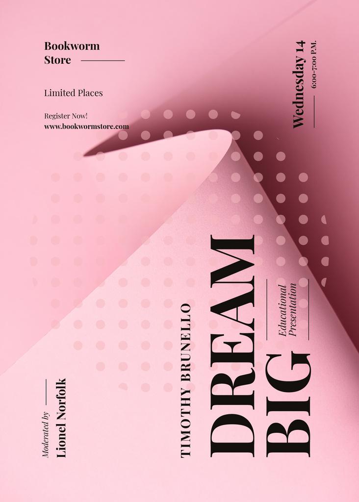 Educational event announcement on Pink paper sheet — Maak een ontwerp