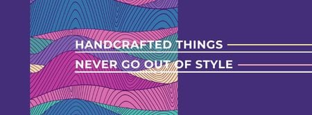 Plantilla de diseño de Citation about Handcrafted things Facebook cover