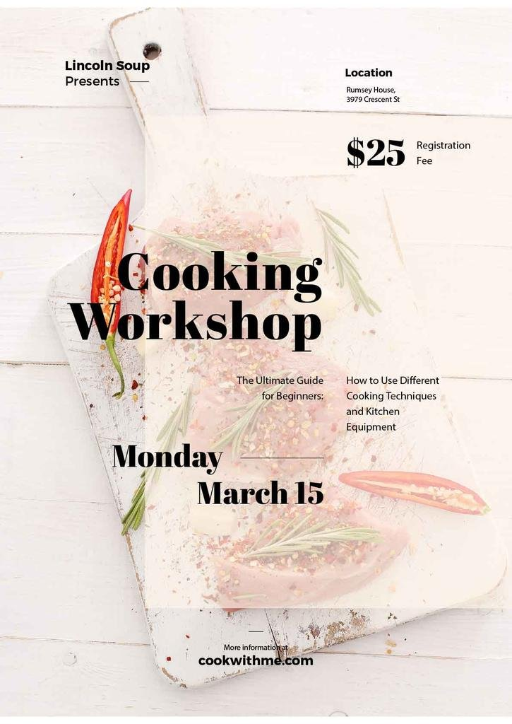 Cooking workshop advertisement — Create a Design
