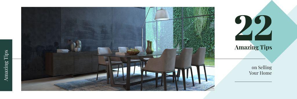 Stylish dining room interior — Modelo de projeto