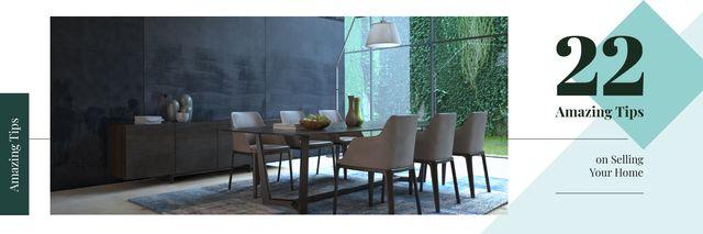 Stylish dining room interior Twitter Design Template