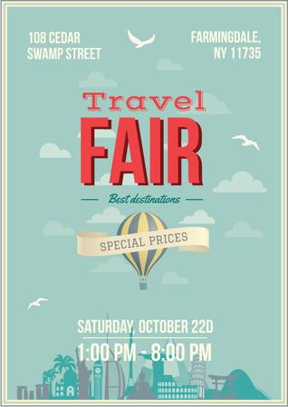 Ontwerpsjabloon van Poster van Travel Fair Advertisement with Hot Air Balloon